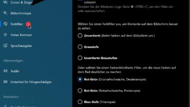 Farbfilter bei Windows 10 – Sehhilfe für Farbenblinde