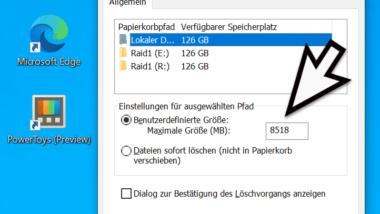 Größe des Windows Papierkorbs ändern