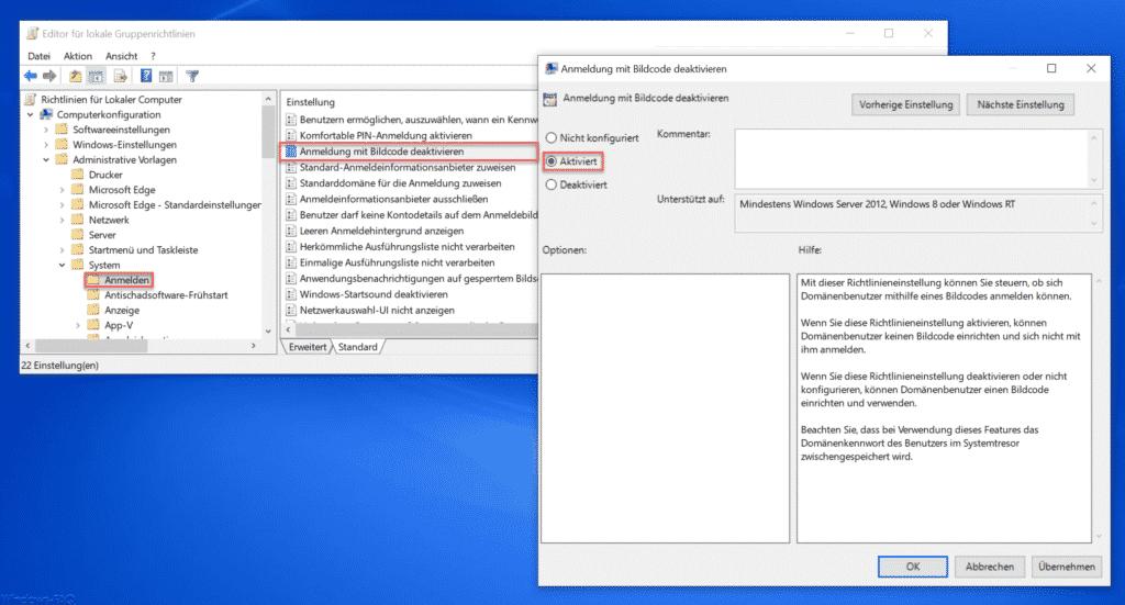 Windows Anmeldung mit Bildcode deaktivieren