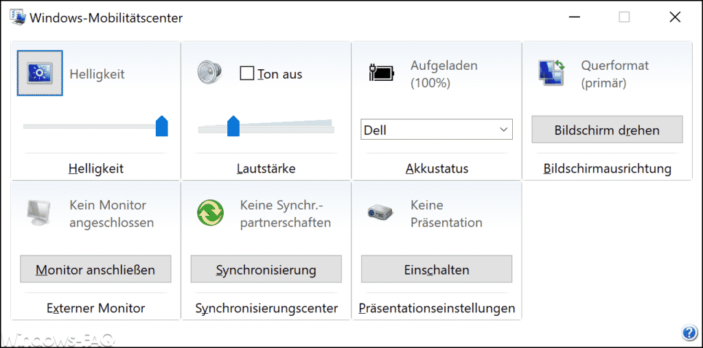 Windows-Mobilitätscenter