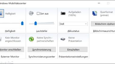 Windows 10 Mobilitätscenter aufrufen und auf mobilen Windows Geräten nutzen