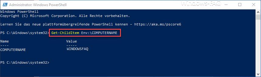 Computername per PowerShell anzeigen