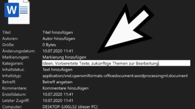 Datei Detailinformationen im Windows Explorer einblenden und bearbeiten (Detailbereich)