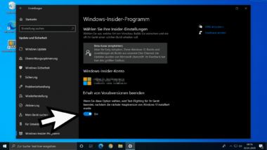 Teilnahme am Windows 10 Insider-Programm beenden