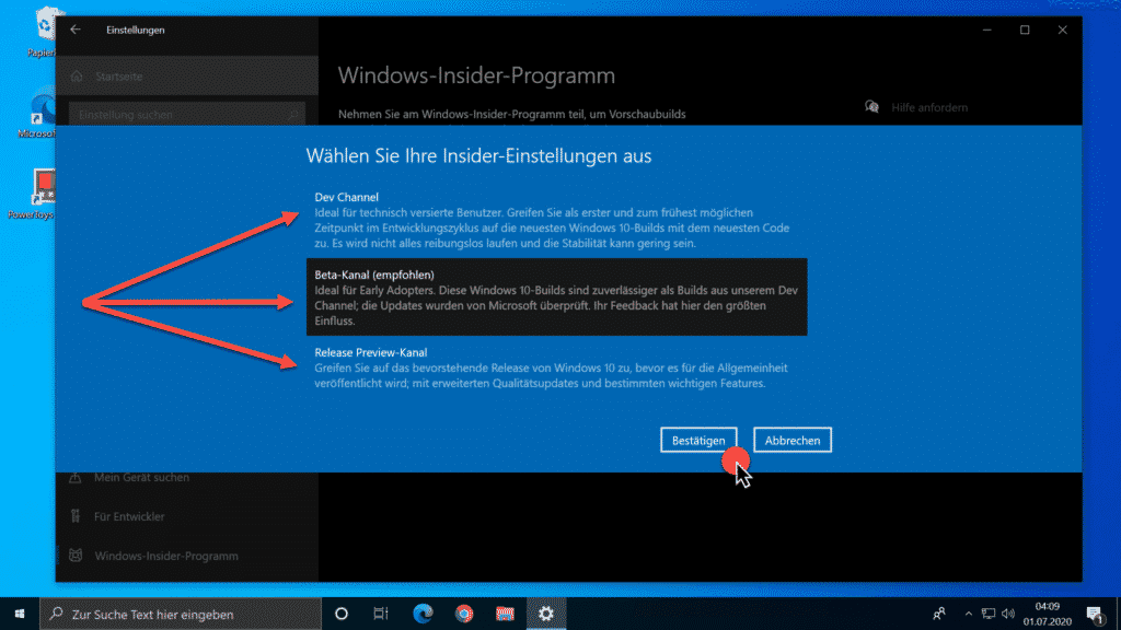 Windows-Insider-Programm - Dev Channel - Beta-Kanal - Release Preview Kanal