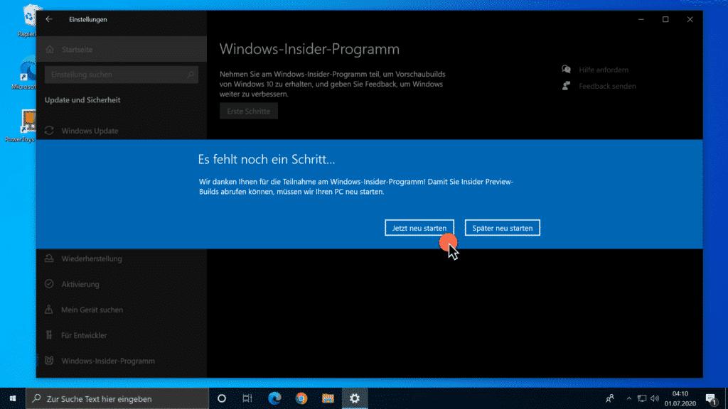 Windows-Insider-Programm - Es fehlt noch ein Schritt