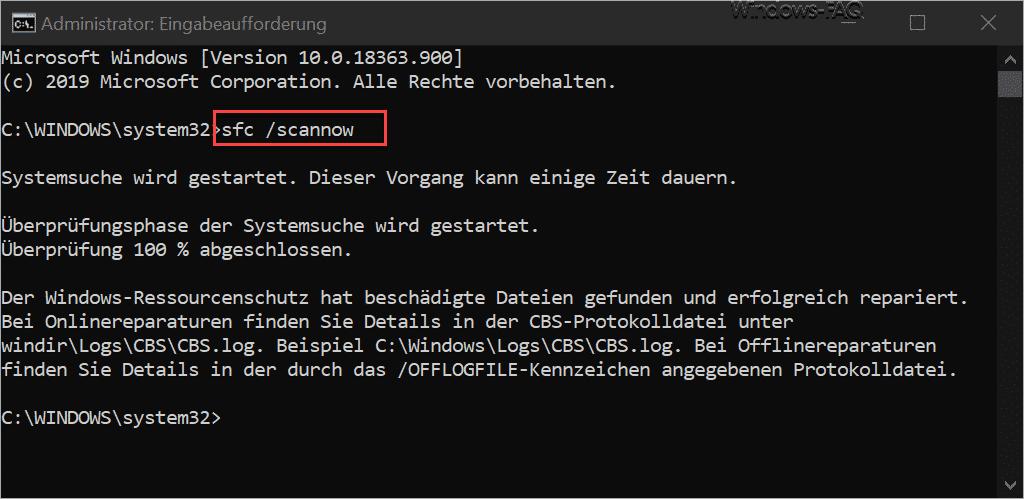 Windows Komponentenstore reparieren mit SFC /SCANNOW