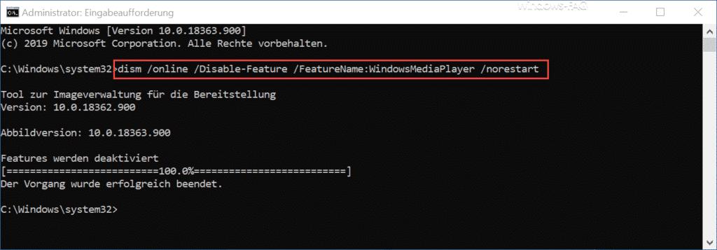 Windows Media Player deinstallieren mit DISM