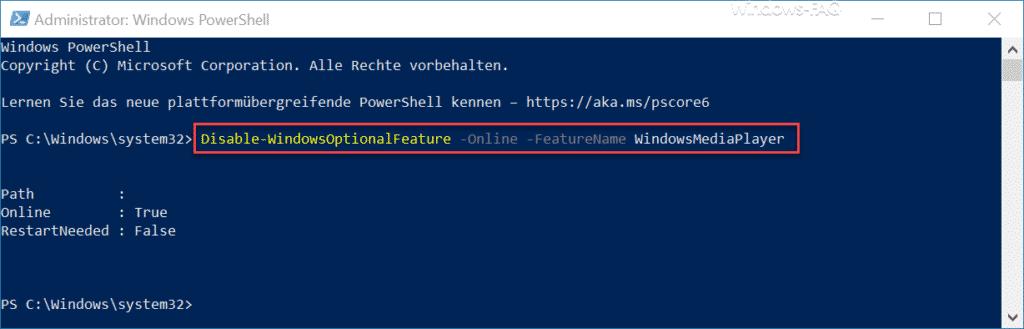 Windows Media Player per PowerShell deinstallieren