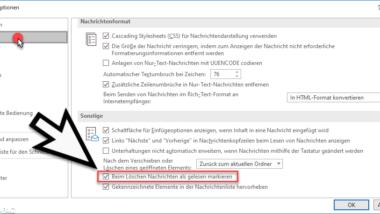Gelöschte E-Mails automatisch als gelesen markieren um Outlook