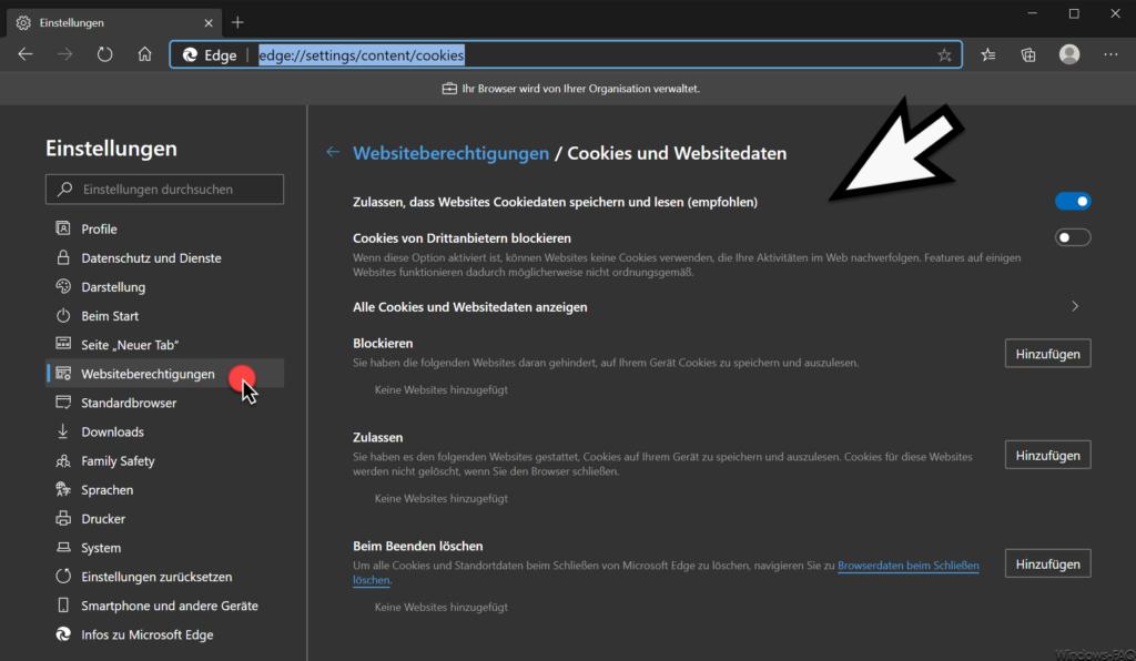 Edge Chromium Websiteberechtigungen Cookies und Websitedaten