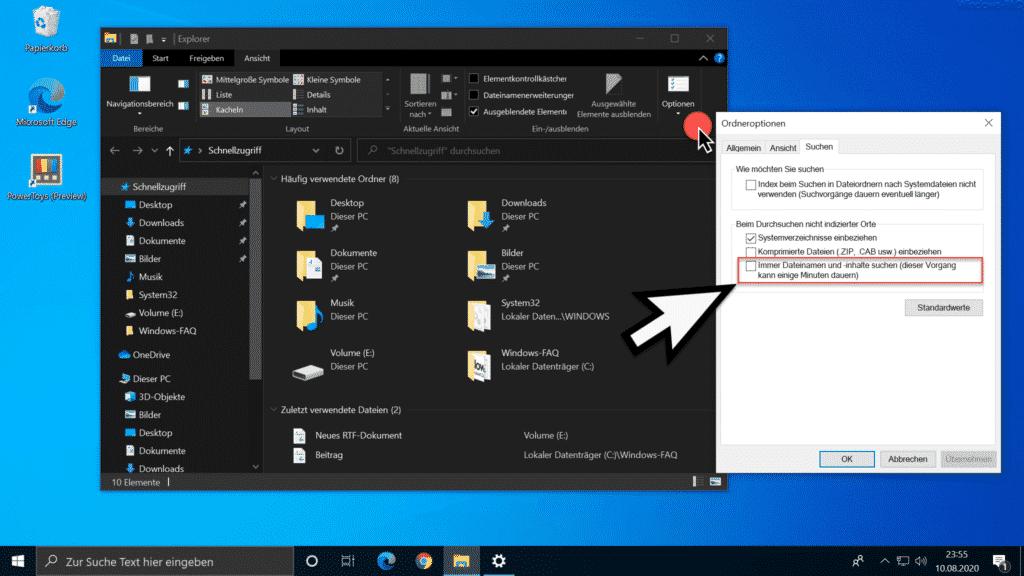 Dateiinhalte durchsuchen im Windows Explorer