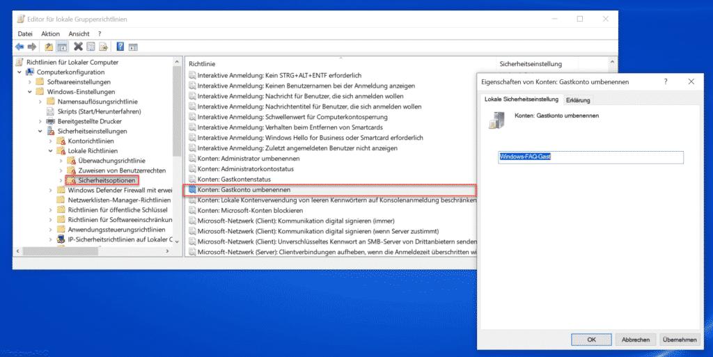 Windows Gastkonto umbenennen