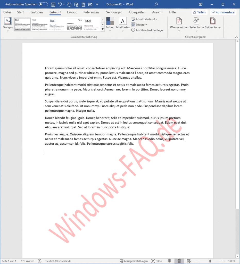 Word Dokument mit Wasserzeichen