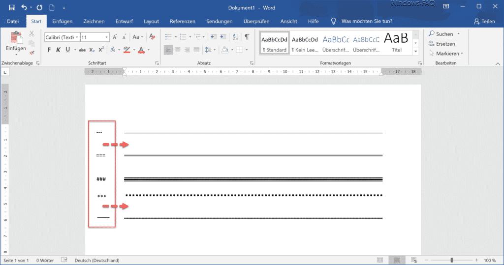 Word Linien zeichnen