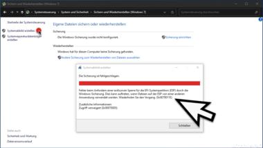 0x8078011E Fehlercode bei Windows Systemabbild erstellen