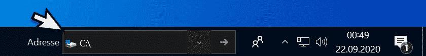 Adresse Symbolleiste Windows 10