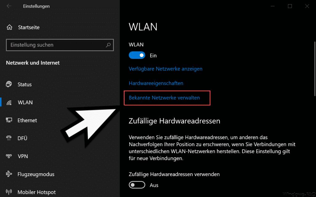 Bekannte WLAN Netze verwalten