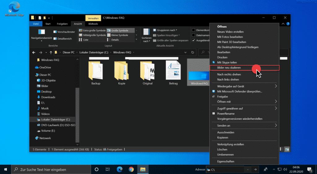 Bilder neu skalieren im Windows Explorer