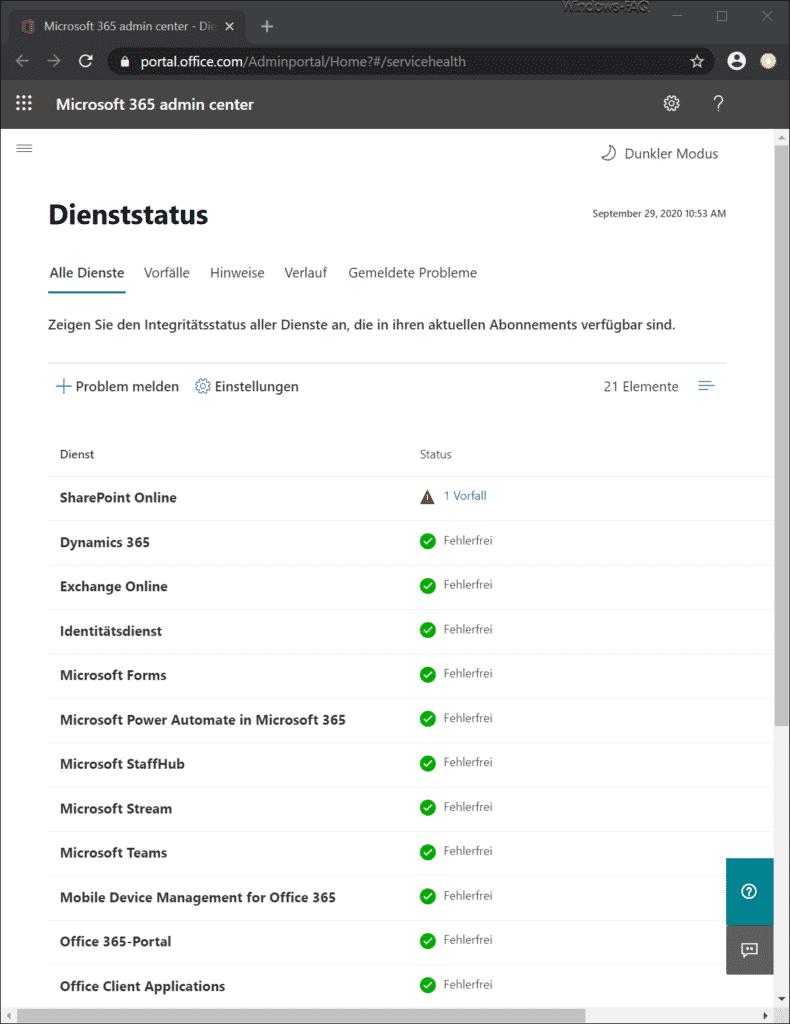 Microsoft 365 Admin Center Dienststatus