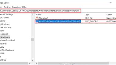 Papierkorb Symbol vom Windows Desktop entfernen per Registry-Key