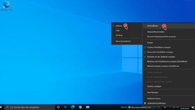 Symbolleisten bei Windows 10 (Adresseingabe)