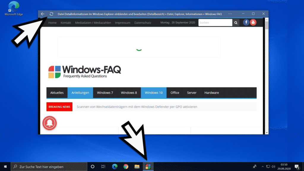 PWA App in der Windows Taskleiste