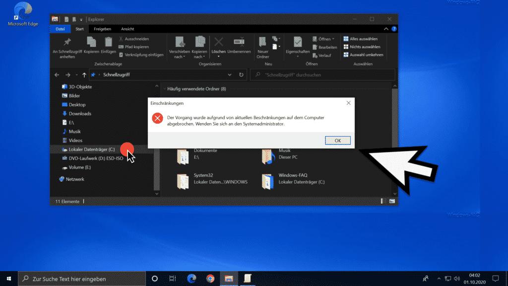 Zugriff auf lokale Datenträger nicht möglich im Windows Explorer