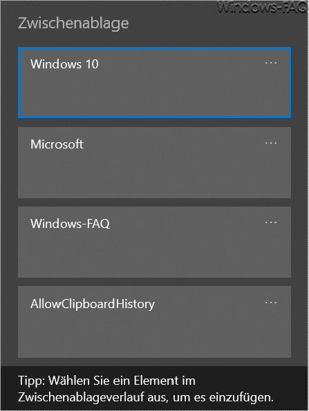 Windows 10 Zwischenablageverlauf