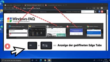 ALT + TAB Task Switcher Übersicht zeigt nun auch Edge Tabs seit 20H2
