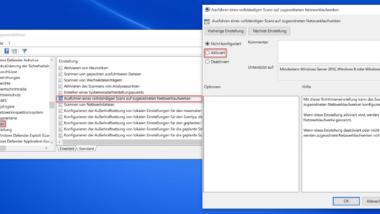Zugeordnete Netzwerklaufwerke mit dem Windows Defender scannen