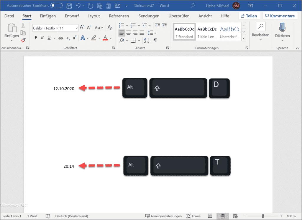 Datum und Uhrzeit schnell in Word Dokument einfügen