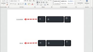 Datum und Uhrzeit schnell per Tastenkombination in ein Word Dokument einfügen