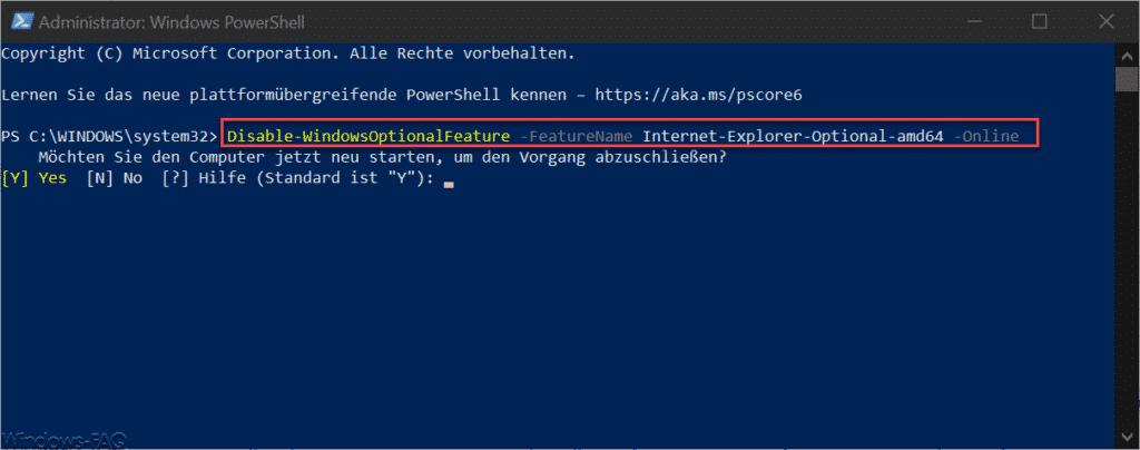 Disable WindowsOptionalFeature Internet-Explorer