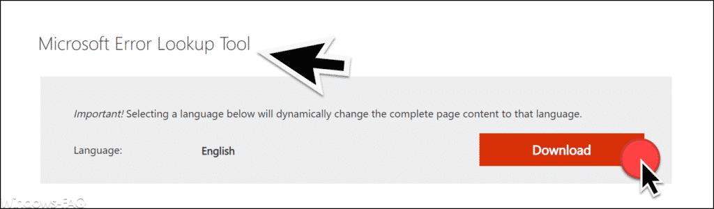 Microsoft Error Lookup Tool