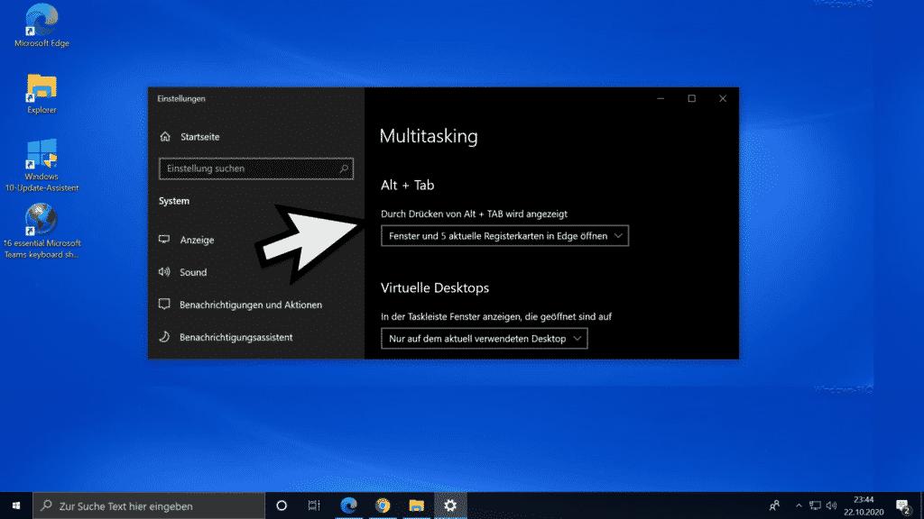 Multitasking Alt + Tab