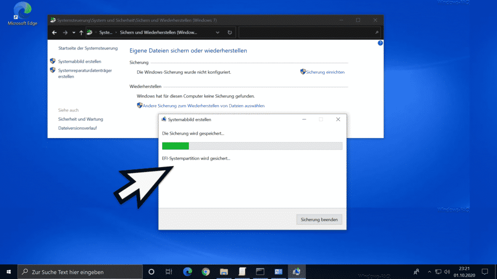 Windows Systemabbild wird erstellt.