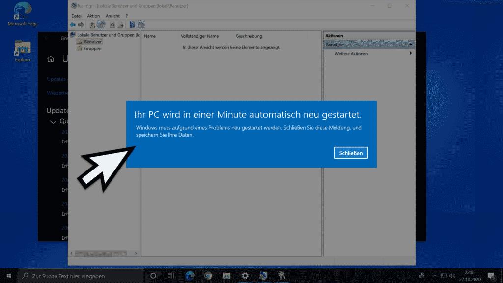 Windows muss aufgrund eines Problems neu gestartet werden.