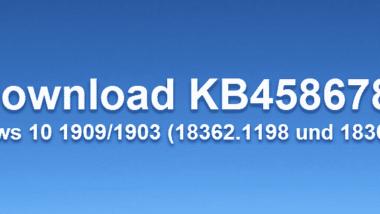Download KB4586786 für Windows 10 1909/1903 (18362.1198 und 18363.1198)