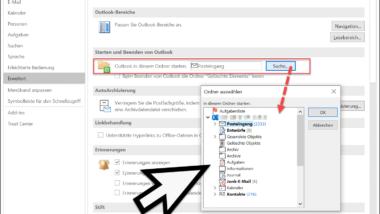 Outlook in der Kalender-, Kontakteansicht oder einem anderen Ordner starten