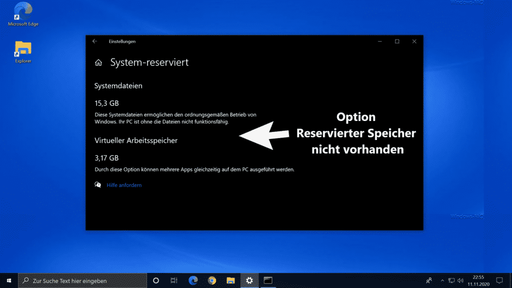 Option Reservierte Speicher nicht vorhanden bei Windows 10