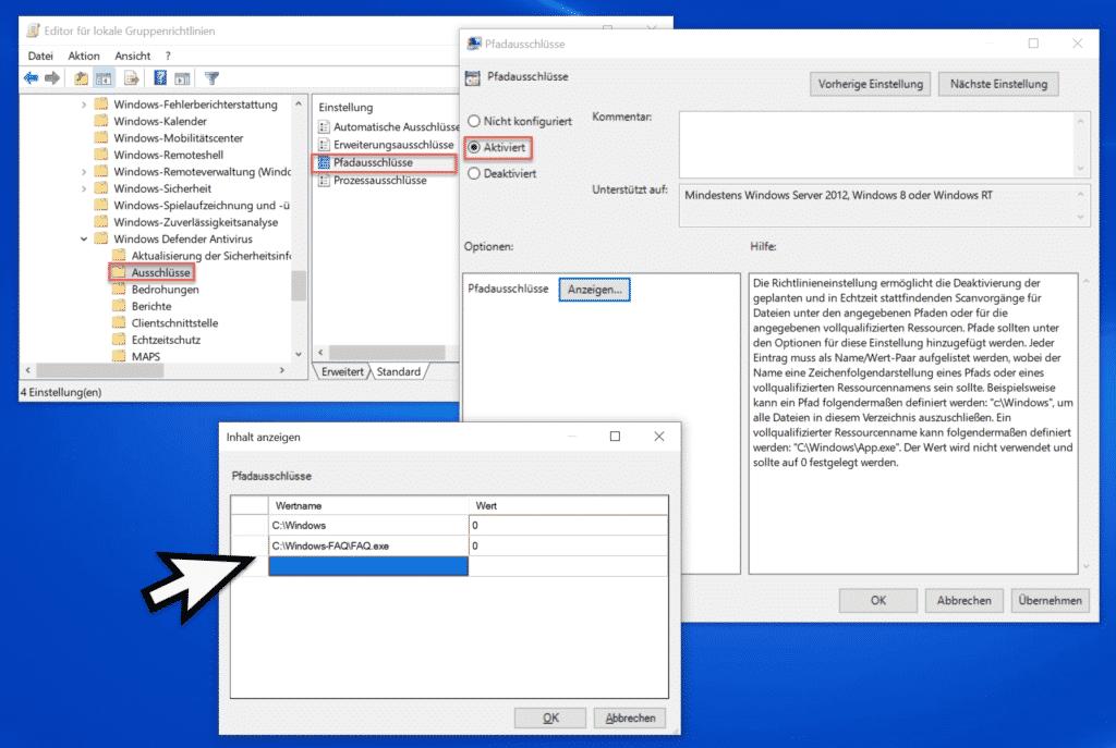 Windows Defender Antivirus Pfadausschlüsse