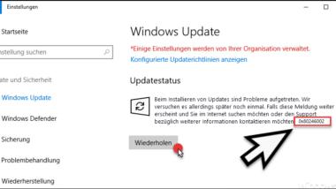 Fehlercode 0x80246002 beim Windows Update