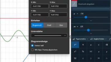 Mathematische Funktionen grafisch im Windows Taschenrechner darstellen