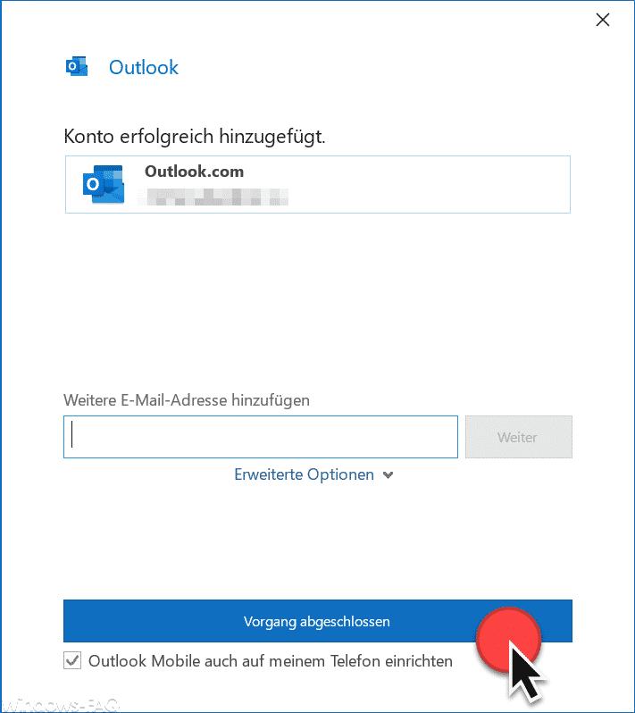 Outlook Konto erfolgreich hinzugefügt