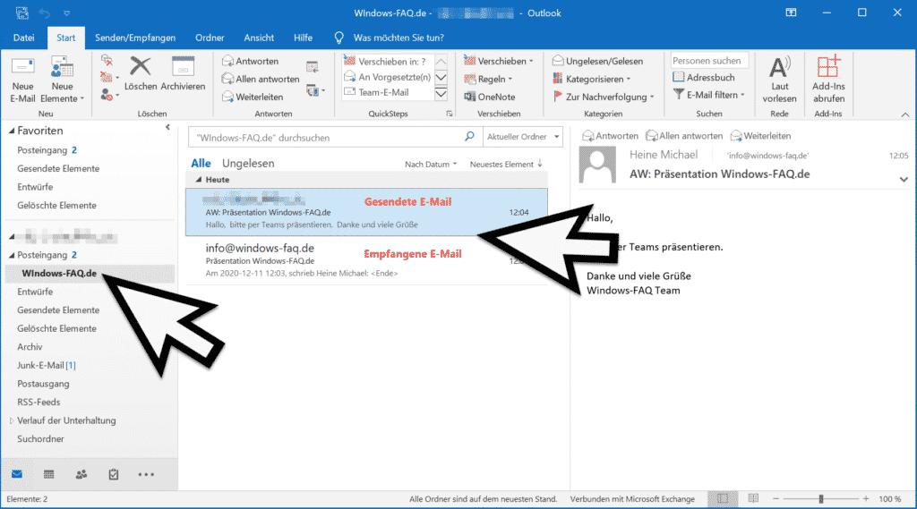 Outlook empfangene und gesendete E-Mail im gleichen Ordner