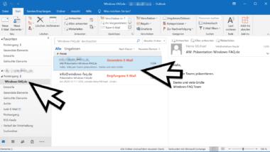Im Outlook empfangene und gesendete E-Mail im gleichen Ordner ablegen