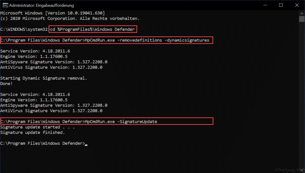 Windows Defender manuelles SignatureUpdate