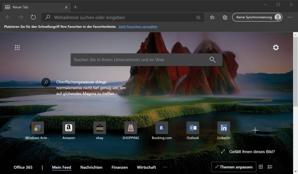Bing als Suchmaschine vom Edge Chromium