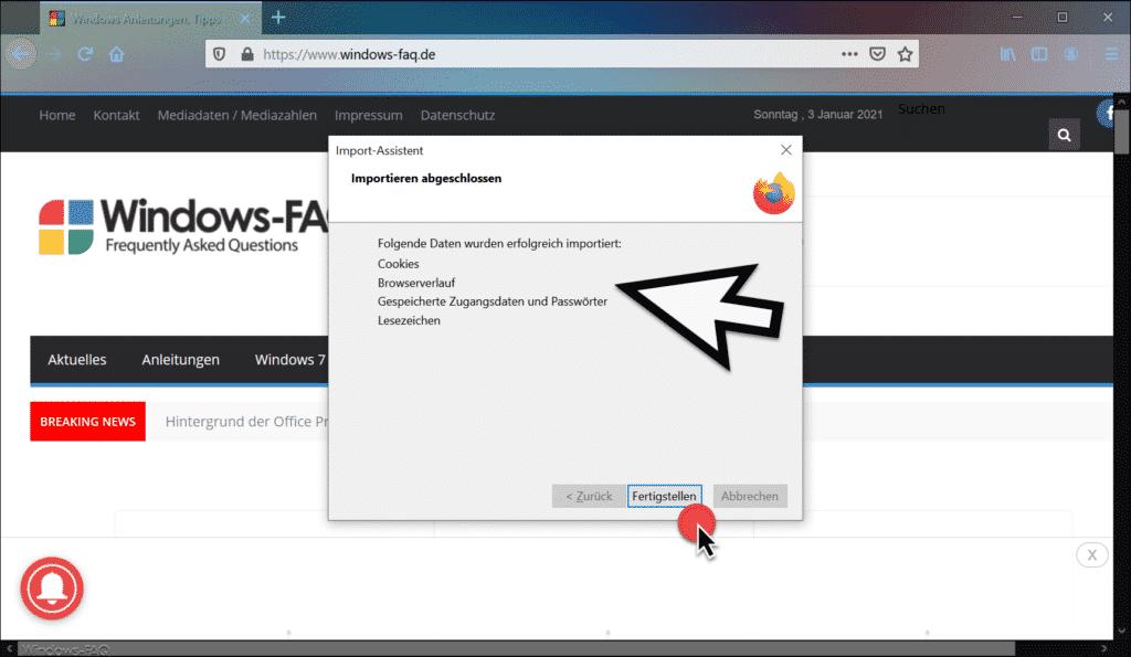 Daten erfolgreich in Firefox importiert